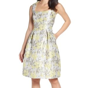 Eliza J Floral Jacquard Fit & Flare Dress Silver